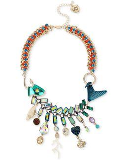 Gold-tone Multi-stone Fish Statement Necklace