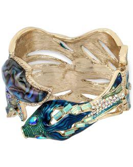 Gold-tone Multi-stone Fish Hinged Bangle Bracelet