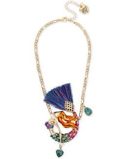 Gold-tone Multi-stone Mermaid Pendant Necklace