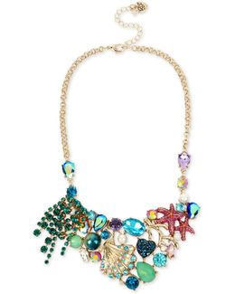 Gold-tone Mixed Stone Sea Motif Statement Necklace