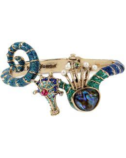 Gold-tone Multi-stone Seahorse Hinged Bangle Bracelet