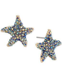 Gold-tone Colored Pavé Starfish Stud Earrings