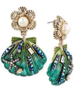 Gold-tone Crystal & Imitation Pearl Seashell Drop Earrings