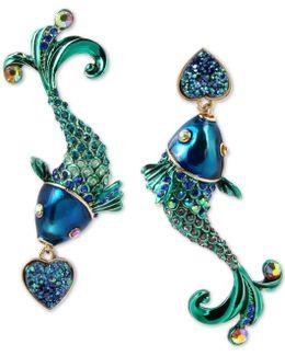 Gold-tone Multi-stone Fish Mismatch Drop Earrings