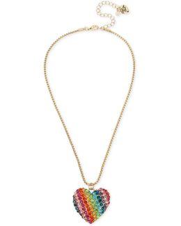 Gold-tone Pavé Rainbow Heart Pendant Necklace