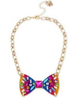 Gold-tone Multi-stone Rainbow Bow-tie Statement Necklace