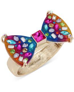 Gold-tone Multi-stone Rainbow Hinged Bangle Bracelet