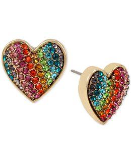 Gold-tone Pavé Rainbow Heart Stud Earrings