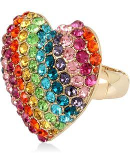 Gold-tone Pavé Rainbow Heart Stretch Ring