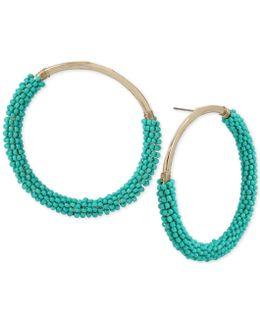 Gold-tone Blue Bead Wrapped Drop Hoop Earrings