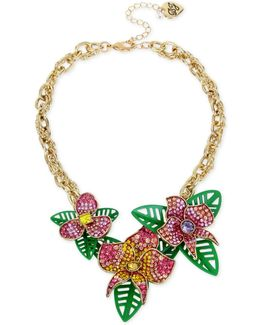 Gold-tone Multi-stone Flower & Leaf Statement Necklace