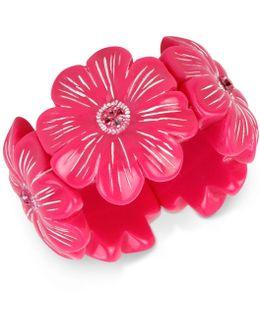 Crystal Pink Flower Stretch Bracelet