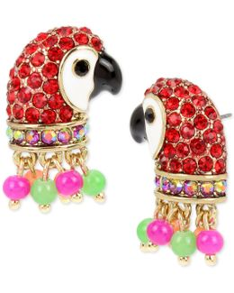 Gold-tone Pavé & Bead Parrot Stud Earrings