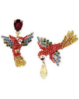 Gold-tone Pavé & Colored Crystal Mismatch Parrot Drop Earrings