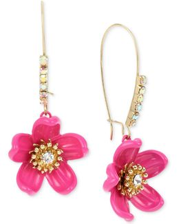 Gold-tone Crystal Pink Flower Drop Earrings