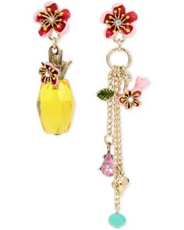 Gold-tone Multi-stone & Charm Mismatch Drop Earrings