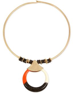 Gold-tone Colored Disc Pendant Necklace