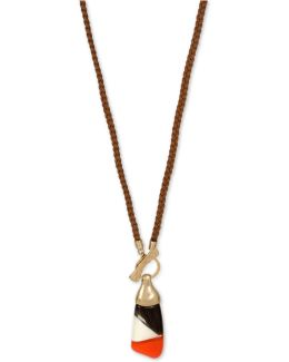 Gold-tone Colorblocked Faux Suede Pendant Necklace