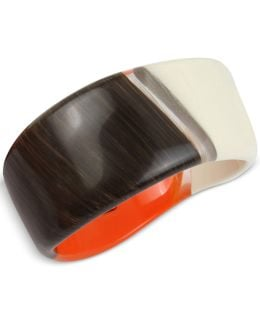 Tri-tone Resin Sculptural Bangle Bracelet