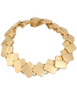 Gold-tone Geometric Rectangle Link Bracelet