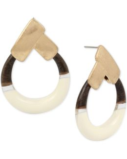 Gold-tone Colorblock Gypsy Hoop Earrings