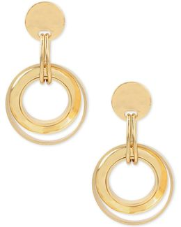 Gold-tone Disc And Circle Drop Earrings
