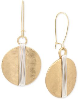Two-tone Wire Wrapped Hammered Disc Drop Earrings