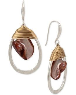 Two-tone Red Mother-of-pearl Stone Wrapped Drop Earrings