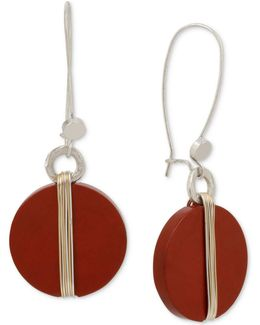 Two-tone Wrapped Red Stone Drop Earrings