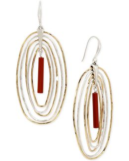 Two-tone Red Stone Orbital Drop Earrings