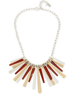 Two-tone Red Stone Statement Necklace