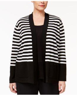 Plus Size Striped Open Cardigan