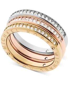 Tri-tone 3-pc. Set Pavé Rings