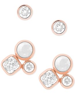 2-pc. Set Crystal And Colored Stone Stud Earrings