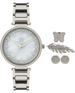 Women's April Silver-tone Bracelet Watch And Accessory Set 34mm