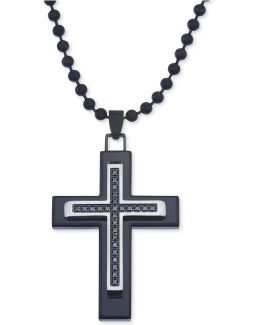 Men's Diamond Cross Pendant Necklace (1/10 Ct. T.w.) In Black Ion-plated Stainless Steel
