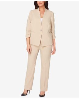 Plus Size Ruched-sleeve Pantsuit