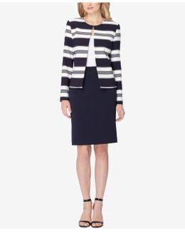 Striped Contrast Skirt Suit