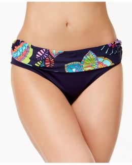 Cactus Floral-print Foldover Mid-rise Bikini Bottoms