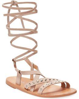 Steeler Flat Lace-up Sandals