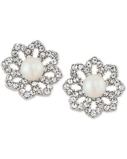 Silver-tone Pavé & Imitation Pearl Clip-on Stud Earrings