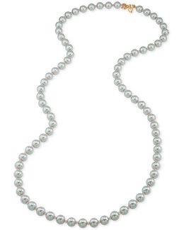 Gold-tone Gray Imitation Pearl Rope Necklace
