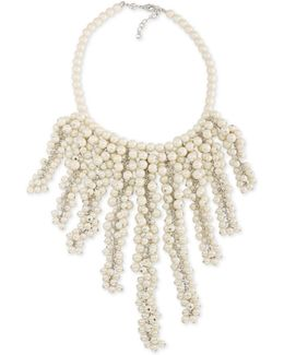 Silver-tone Imitation Pearl Statement Necklace