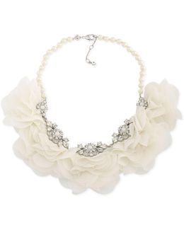 Crystal & Imitation Pearl Fabric Flower Statement Necklace