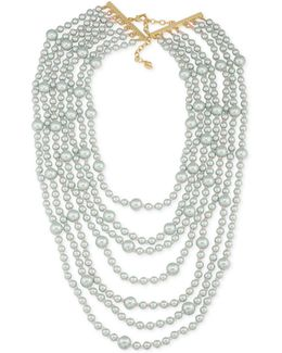 Gold-tone Gray Imitation Pearl Multi-row Necklace