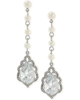 Silver-tone Crystal & Imitation Pearl Linear Drop Earrings