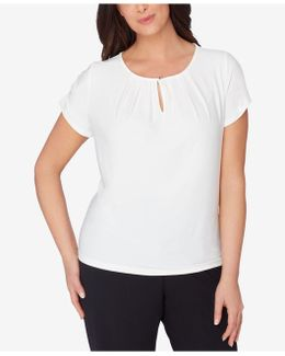 Plus Size Pleated Keyhole Top
