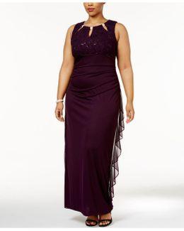Plus Size Embellished Keyhole Gown
