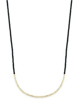 Gold-tone & Black Beaded Rope Necklace
