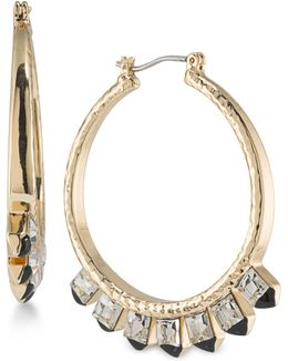 Gold-tone Crystal Studded Hoop Earrings